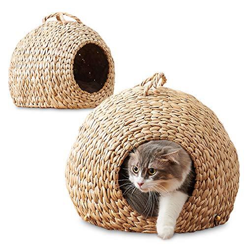 猫 ベッド ネコの巣 大小2個セット ねこちぐら 天然素材 ハンドメイド ネコハウス キャットハウス 取っ手付...