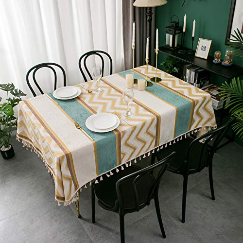 YMHPRIDE Mantel resistente, mantel rectangular de lino de algodón con borla, mantel de costura cuadrada, cubierta de mesa a prueba de polvo para comedor de cocina, decoración de mesa