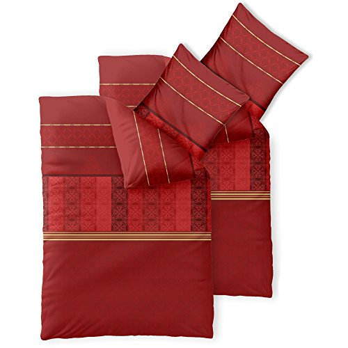 CelinaTex Fashion Bettwäsche 155x220 cm 4teilig Baumwolle Susan Streifen Ornament Rot Beige