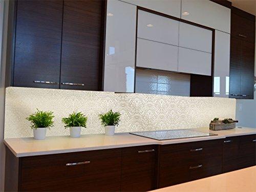 Dalinda® Küchenrückwand Küchenboard Küchenrückseite mit Design Barockmuster beige KR109
