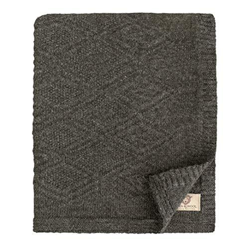 Linen & Cotton Leicht Decke Wolldecke Gestrickt Arianna - 100% Reine Neuseeland Wolle, Grau Anthrazit (120 x 180cm) Wohndecke Kuscheldecke Strick Sofadecke Strickdecke Plaid Schurwolle Couch Sofa