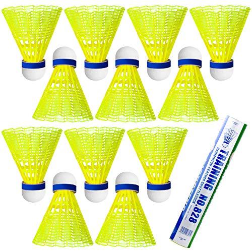 NATEE 12 Stück Federbälle Badminton Premium-Nylonfederball, Korkfuß, Geschwindigkeiten und Farbe wählbar, für Indoor & Outdoor