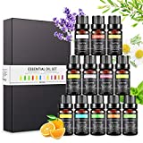 Set de Aceites Esenciales para Difusor, Aceites de Aromaterapia Aromático para Humidificador, 100% Puro Natural Lavanda Eucalipto Hierba de Limón, Menta, Eucalipto, Árbol de té (12 x 10 ml)