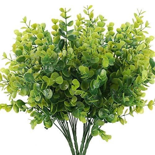 HUAESIN 4pcs Künstliche Eukalyptus Zweige Kunstpflanzen Grün Blätter Plastik Eukalyptus Unechte Eukalyptusblatt Plastikpflanzen für Draußen Hochzeit Party Garten Balkon Dekoration 35cm