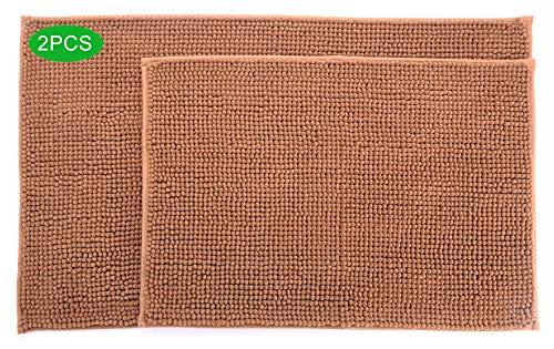 TODOHOME 2 Stück Badezimmer matten Badematten aus Chenillegarn Material, rutschfest Basis/ungiftig Geruchslos/Maschine waschbar/Maße 43x62cm und 50x82cm(Braun)