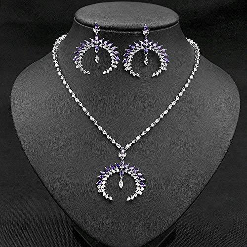 FWJSDPZ Juego de 2 piezas de joyería de lujo con forma de gota de agua y circonita cúbica para boda, pendientes y collares para mujer (color: morado)