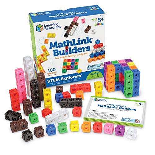 Learning Resources STEM Explorers, Math Cubes, Early Math Skills, Mathlink Builders, 100 Pieces, Ages 5+