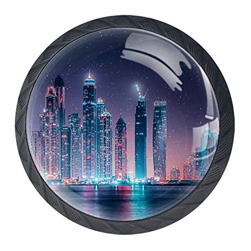 Bennigiry Schubladenknauf aus Kristallglas, mit Dubai Skyline bei Nacht, ergonomisch, 30 mm, rund, Möbelgriff für Küche, Kommode, Schrank, Kleiderschrank, 4 Stück