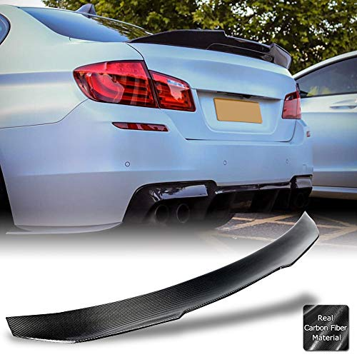 AeroBon Real Carbon Fiber Trunk Spoiler Compatible with 2009-16 BMW 5er F10 and F10 M5 Sedan (High Kick Style)