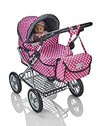 Adjustable handle height: 50cm - 77cm (Doll not included) Stylish polka dot design with storage basket Includes coordinating shoulder bag and handy shopping tray Folds flat for easy storage Suitable for dolls up to 50cm