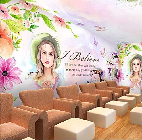 Ponana Benutzerdefinierte Fototapete Nagelkosmetik Schönheitssalon Studio Wandmalerei 3D Menschen Mädchen Aquarell Tanzmusik Zimmer Tapete B-400X280Cm