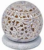 Zap Impex ® Portavelas de piedra escultura portavelas con flores talladas, figuras, vela decorativa, farolillo, decoración única, hecha a mano, 3 pulgadas