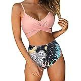 Bikini Mujer Front Cross Bandage Tiras Talle Alto Tallas Grandes Sexy Traje De Baño Conjunto Push Up Braga Triangulo Alta de Dos Piezas 2021 para el Verano