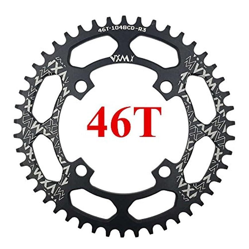 農場定期的なきれいにPropenary - 自転車104BCDクランクオーバルラウンド30T 32T 34T 36T 38T 40T 42T 44T 46T 48T 50T 52TチェーンホイールXT狭い広い自転車チェーンリング[ラウンド46Tブラック]