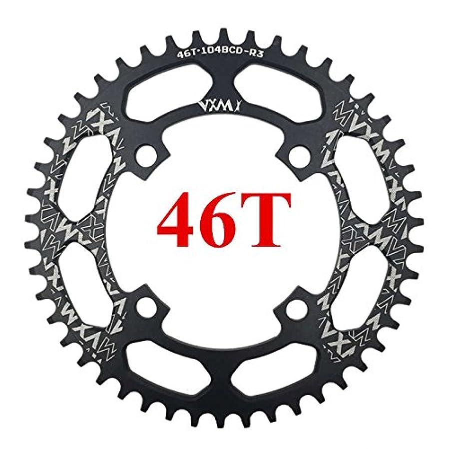 子先唯物論Propenary - 自転車104BCDクランクオーバルラウンド30T 32T 34T 36T 38T 40T 42T 44T 46T 48T 50T 52TチェーンホイールXT狭い広い自転車チェーンリング[ラウンド46Tブラック]