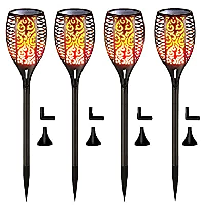 Solar Lights Upgraded, Waterproof Flickering Flames Torches Lights Outdoor Solar Spotlights Landscape Decoration Lighting Dusk to Dawn Auto On/Off Security Torch Light for Patio Driveway (4 Pack)