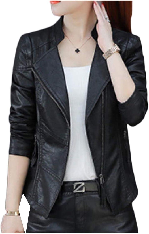 ROHEP Women Parka Outwear Short TurnDown Collar Curvy Leather Coat Jacket
