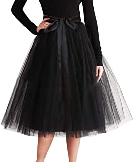 CahcyElilk Knee Length Tulle Skirt 6-Layered Midi Tutu Tulle Prom Princess Party Dance Skirt with Belt