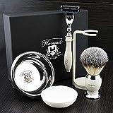 Premium Shaving Kit Geschenk für Männer (Dreikanten-Kartusche Rasierer, Pinsel, Schüssel, Stand)...