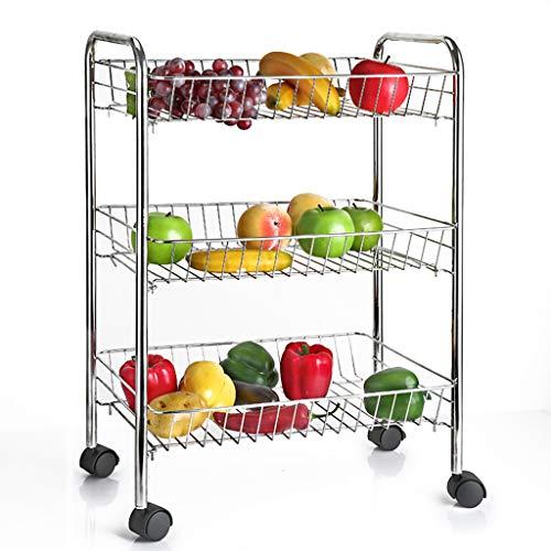 Vegetable rack 3 KüChen-GemüSegestell Aus Edelstahl 304, Mehrlagige Hot Pot-Flaschenzugrolle Mit Herausnehmbarem Lagergestell