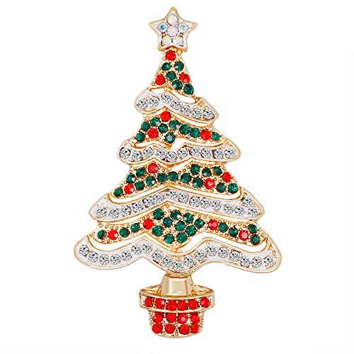 YAZILIND Colour Rhinestone Christmas Tree Breastpin Corsage Women Girls Brooch Pins Xmas Jewellery Gift