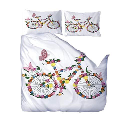 3d Duvet Cover Non Iron Single Bed/Duvet Cover 53'x79' White&Bike 3 Pcs Ultra Soft Hypoallergenic Brushed Microfiber Zipper Closure bedding set with 2 Pillowcases Single/Double/King/Super King