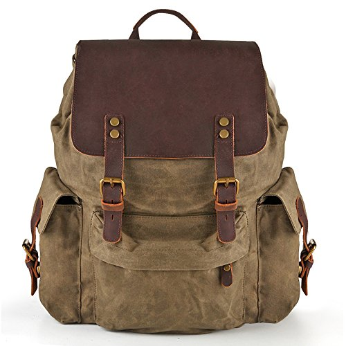 H-ANDYBAG Men Waxed Canvas Vintage Laptop Backpack for 15.6 inch Army Green