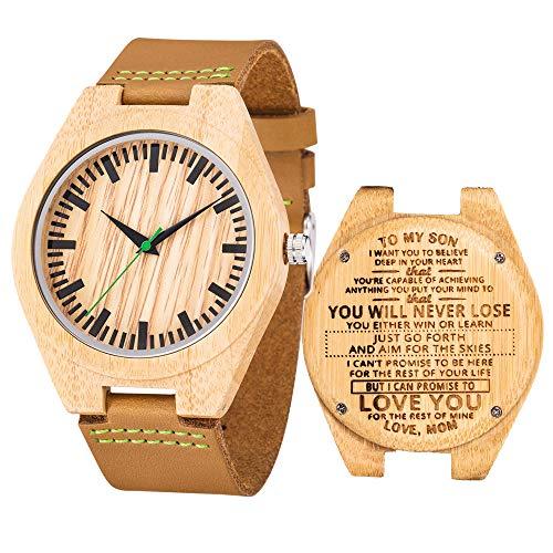 Herren Analog Quarz Bambus Holz Uhr für Sohn mit Leder Armband(to Son from mom)