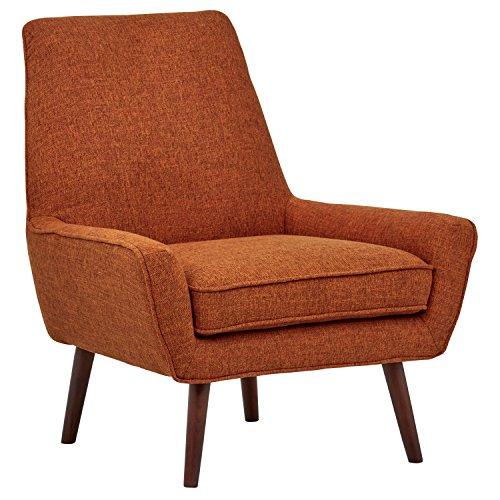 Amazon Marke -Rivet Jamie Akzent-Stuhl im Stil der 1950er Jahre mit niedrigen Armlehnen, B 79cm, Dunkelorange