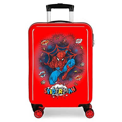 Marvel Spiderman Pop Maleta de Cabina Rojo 38x55x20 cms Rígida ABS Cierre combinación 34L 2,6Kgs 4 Ruedas Dobles Equipaje de Mano