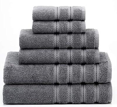 American Soft Linen 6-Piece 100% Turkish Genuine Cotton Premium & Luxury Towel Set for Bathroom & Kitchen, 2 Bath Towels, 2 Hand Towels & 2 Washcloths [Worth $72.95] - Grey