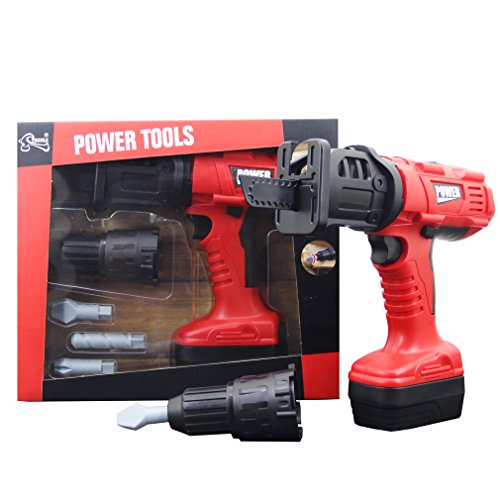 GranVela Tegole T1404 Durable Kids Tool Set with Electronic Cordless Press Drill Pretend Play Construction Toys