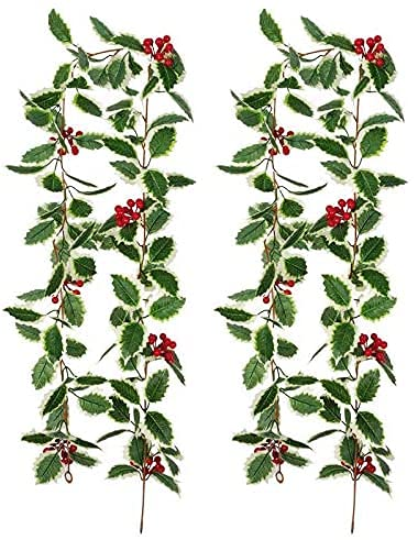 JIAJBG 2 Pcs Christmas Red Berry Garland, Artificial Foliage Greenery Fireplace Decor Xmas Decoration Indoor/Outdoor Decorations Vine Hanging Garland