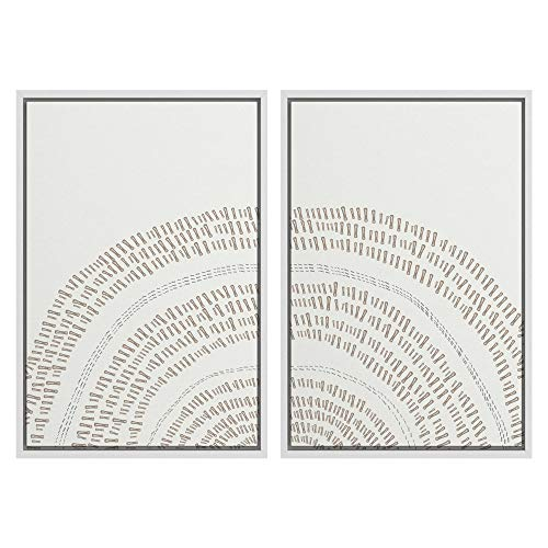 SIGNWIN 2 Piece Framed Canvas Wall Art Nordic Style Abstract Trees Canvas Prints Home Artwork...