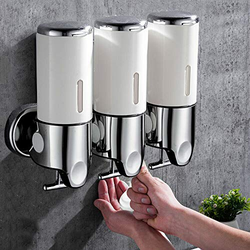 3x500ml Soap Dispenser,Triple Chamber Wall-Mounted Soap Dispenser and Organizer Bathroom Shower Pump Hand Lotion Body Lotion Shampoo Shower Gel Conditioner Container (White)