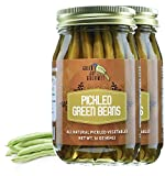 Green Jay Gourmet Pickled Green Beans in a Jar - Fresh Hand Jarred Vegetables for Cooking & Pantry – Home Grown Pre-Prepared Pickled Green Beans – Simple Natural Ingredients - 2 x 16 Ounce Jars