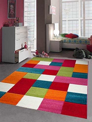 CARPETIA Kinderteppich Spielteppich Kinderzimmer Teppich Karo bunt türkis orange Weiss rot pink Größe 80x150 cm