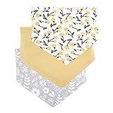 Siskey Baby Triángulo bufanda bebé antiderrame leche recién nacido toalla babero de algodón estampado saliva toalla 3 piezas amarillo amarillo Talla:18cm×11cm×1.5cm