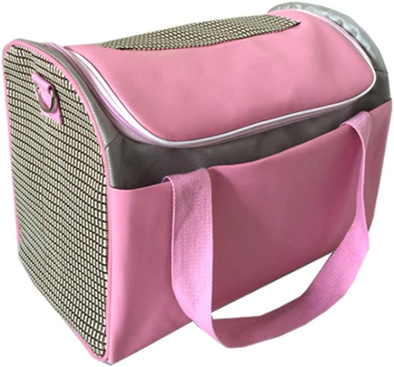 Pet Backpack Airline Approved Pet Carriers Single Shoulder Handheld Breathable Portable Dog Bag cat cage (Pink)