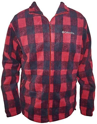 Columbia Men's Steens Mountain Full Zip 2.0 Soft Fleece Jacket (Red/Black Plaid, Medium)