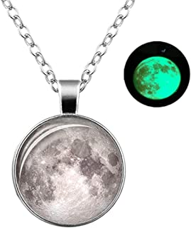 PTGMH Luminous Crescent Moon Necklace Glow in the Dark Necklace Full Moon Gemstone Silver Plated Chain Fairy Necklace for ...