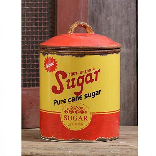 Vintage Rustic Decorative Ceramic Sugar Storage Canister with Lid – Retro Farmhouse Cookie Jar Container Kitchen Decor
