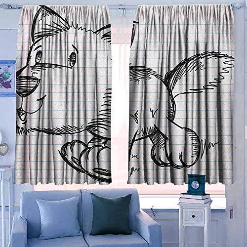Lovii Isolerende verduisteringsgordijnen gordijnen Thermische geïsoleerde panelen huisdecor Doodle Prince Charming en Kasteel Pirncess Geïnspireerd Romance Tekening Ridders en Draken Zwart Wit
