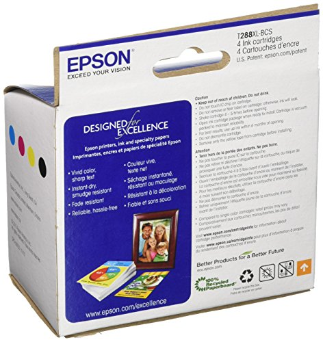 Epson T288XL-BCS Black High Capacity and Color Standard Capacity Ink Cartridges, C/M/Y/K 4-Pack Photo #2