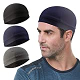 Go-sport 3 Pack Cooling Skull Cap Helmet Liner Sweat Wicking Cycling Running Hat for Men Women, Black+grey+navy, Medium