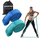 SUPERTRIP Women Long Fabric Resistance Band Set, 2 Resistance Levels Pull Up Bands Loop Resistance Bands for Exercise Workout Cloth Resistance Bands Stretch Bands for Home Gym Yoga Green/Blue 2 Pack