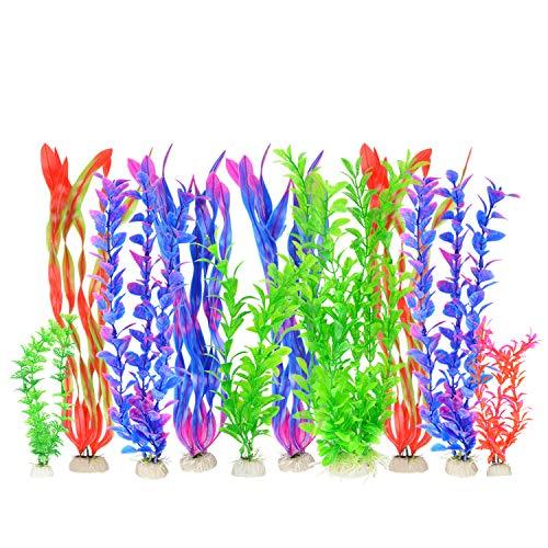 PETLOFT Plantas Acuáticas, 10 Pcs Plantas de Acuario Artificiales de Plástico Colorido Decoración Acuática Grande Simulación de Acuario Plantas Hidropónicas Decoración de Acuario Accesorio para Pecera