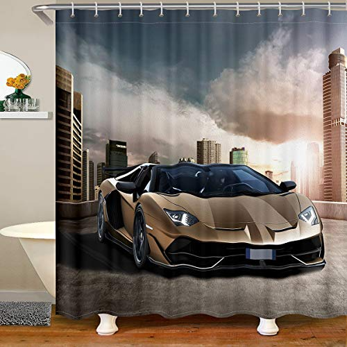 Feelyou Race Car Fabric Bathroom Shower Curtain Sports Car Waterproof Shower Curtains for Kids Boys Girls Galaxy Cool Speed Racing Car Design Shower Curtain with Hooks Automobile Style Curtain