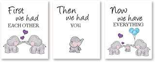 Cute Baby Elephant Watercolor Art Print, Set of 3 Balloon Elephant Family Love Quote Wall..