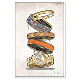 """Image of The Oliver Gal Artist Co. Fashion and Glam Framed Wall Art Canvas Prints Arm Candy' Jewelry Home Décor, 30"""" x 45"""", Orange, Gold"""